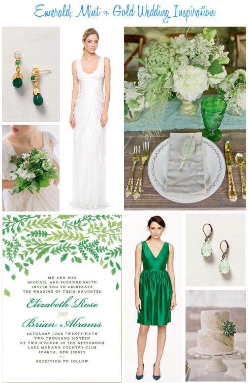 Emerald mint gold wedding inspiration availendar for Mint and gold wedding dress
