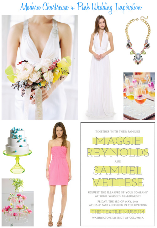 Availendar: Modern Chartreuse + Pink Wedding Inspiration